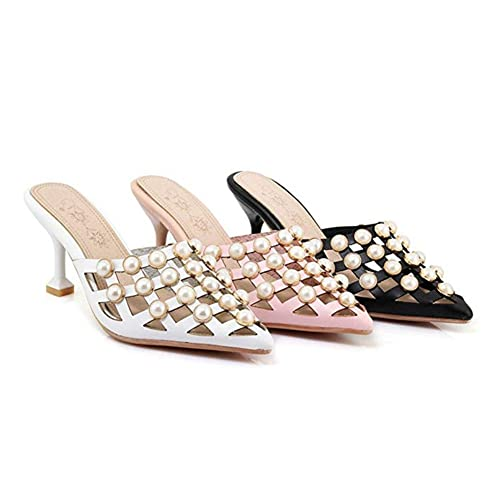 b4ce8dc83fd37 Amazon.com | T-JULY Women's Sexy Pointed Toe Pearls Studded Hollow ...