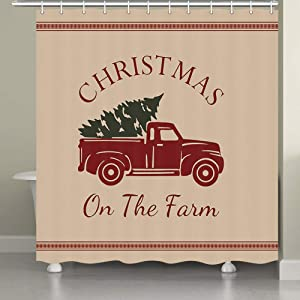 JAWO Farmhouse Shower Curtains for Bathroom, Red Truck Green Pine Tree Holiday on Farm Bathroom Curtains, 69X70 Inches