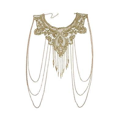 5242677bd61 JoJo & Lin Gold Fine Chain Flower Lace Body Chain Bikini Necklace Jewelry  (C)
