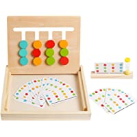 kizh Preschool Learning Toys Slide Puzzle Color & Shape Matching Brain Teasers Logic Game Montessori Educational Wooden…