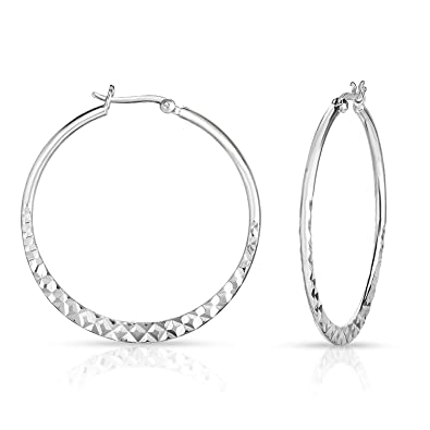 112c54f4e Precious Metal without Stones 925 Sterling Silver Diamond Cut Tiny Hoop  Hinged Sleeper Earrings Hoops 8mm