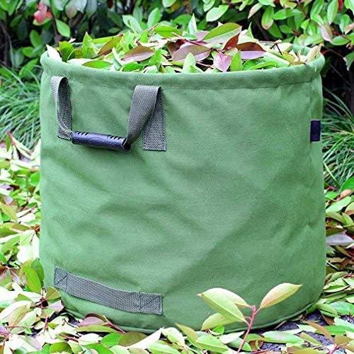WHT Sac de Jardinage 125L Extra-Robuste avec Poign/ées H45.7 cm, D55.8 cm Sac de Ramassage Feuilles Verte avec Toile Militaire