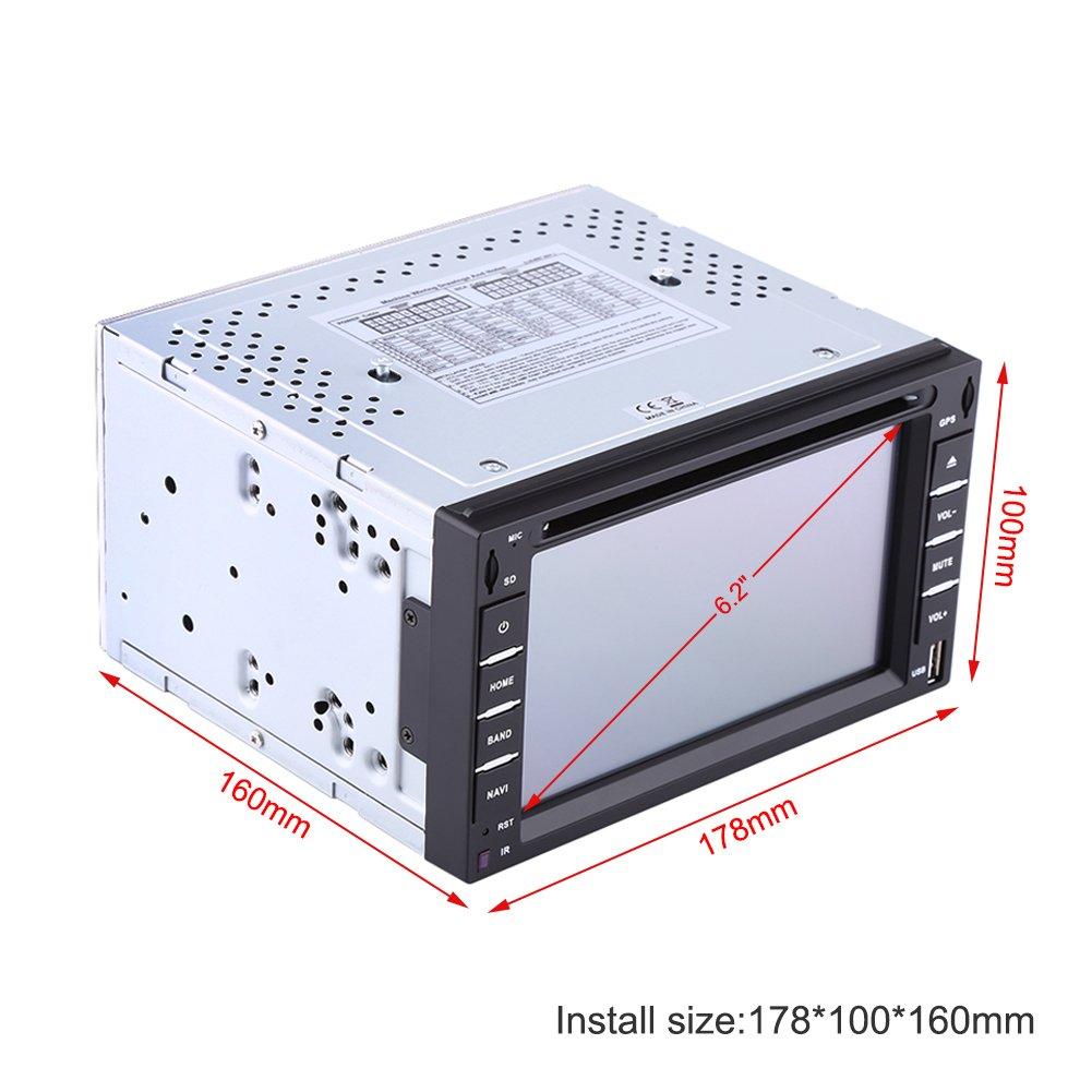 Qiilu 6,2 Pulgadas Reproductor de DVD de Coche Pantalla Táctil 3D en Dash con Bluetooth Stereo Radio/Reproductor de DVD/CD / MP5 / USB/SD/GPS Navi Mapa ...