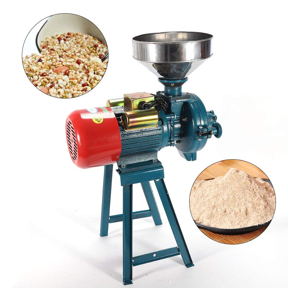 WUPYI Grinder Machine,220V 1500W Electric Dry Mill Grinder Machine Grain Mill Cereal Rice Grinder Corn Coffee Wheat Feed Mill Dry Cereals Grinder with Funnel, 1400r / min by WUPYI