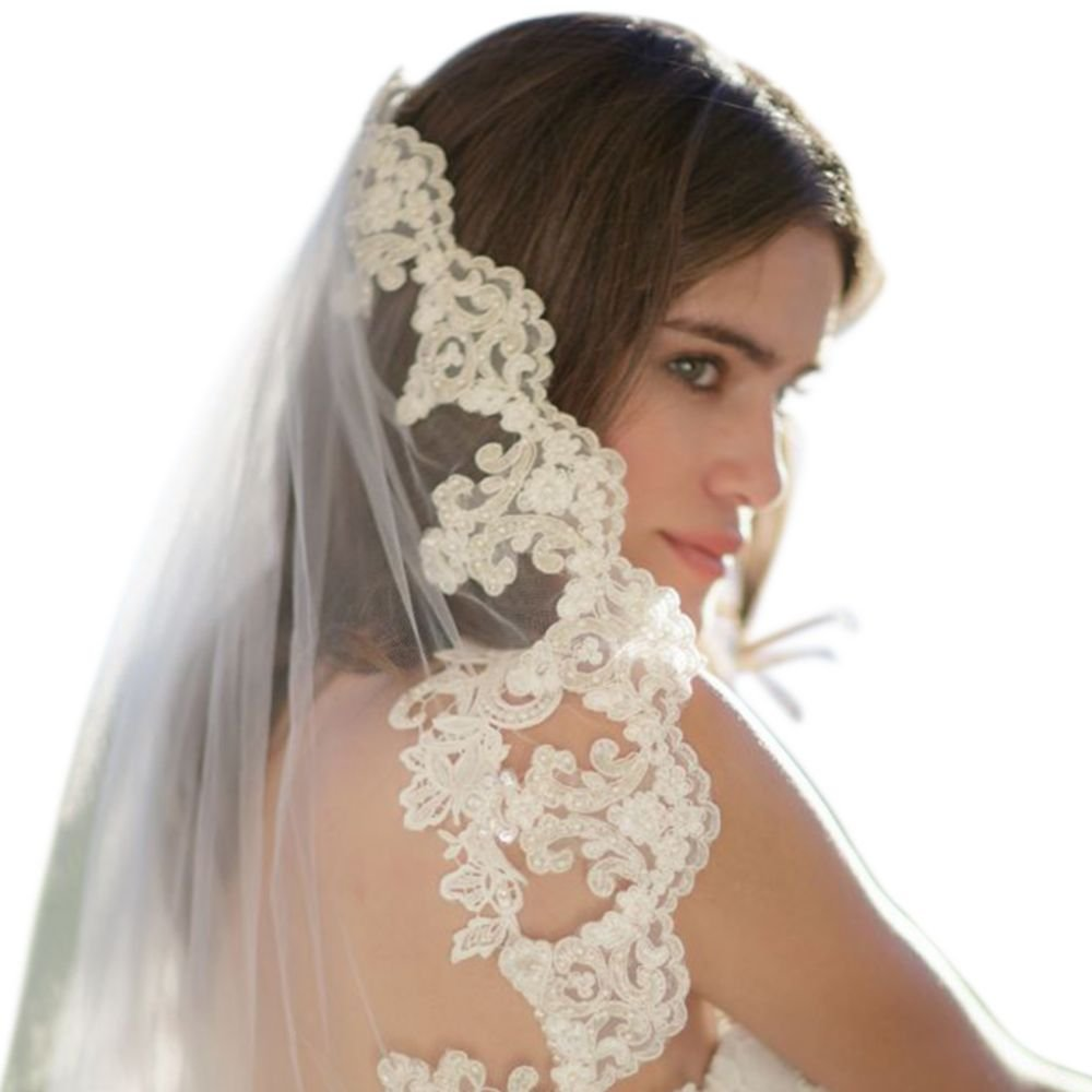 Freshwater Pearl and Alencon Lace Veil with Comb Style EDEN, Ivory, 108 inches