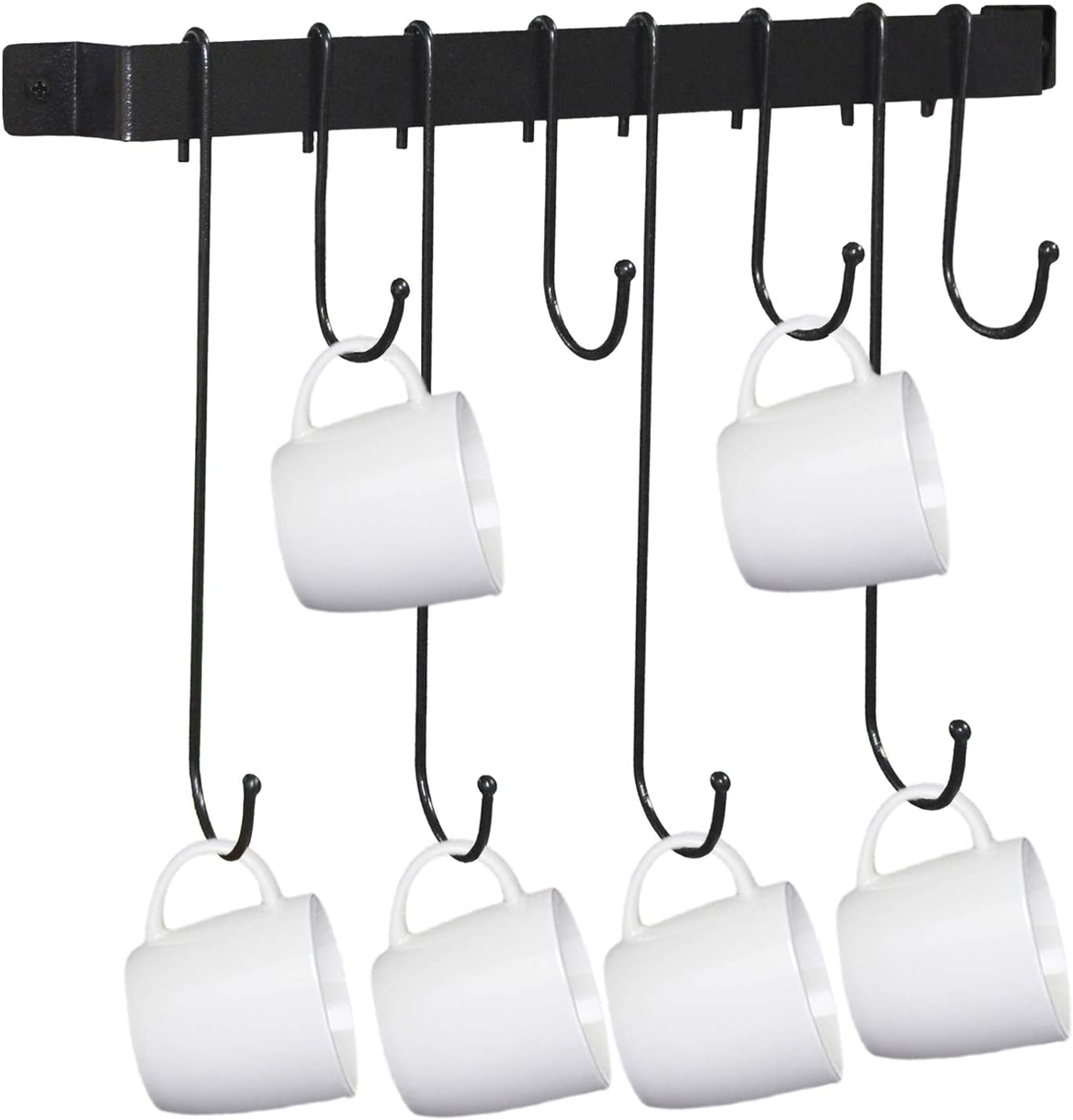 Coffee Mug Rack Wall Mounted Farmhouse Rustic Decor Mug Holder with 8 Kitchen Hooks for Hanging Black (17inch)