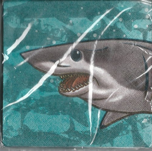 Shark Party Beverage Napkins 16 Count 3 Ply