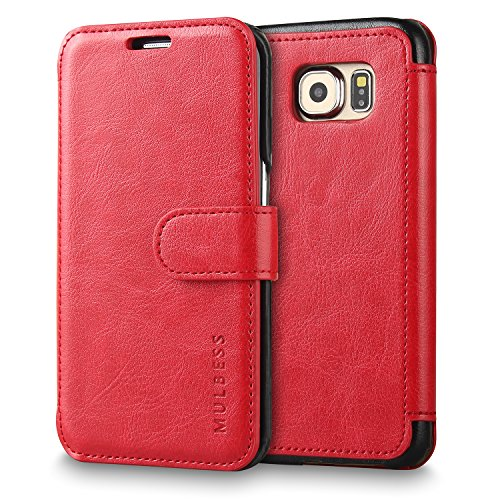 Galaxy S6 Edge Case Wallet,Mulbess [Layered Dandy][Vintage Series][Wine Red] - [Ultra Slim][Wallet Case] - Leather Flip Cover With Credit Card Slot for Samsung Galaxy S6 Edge SM-925