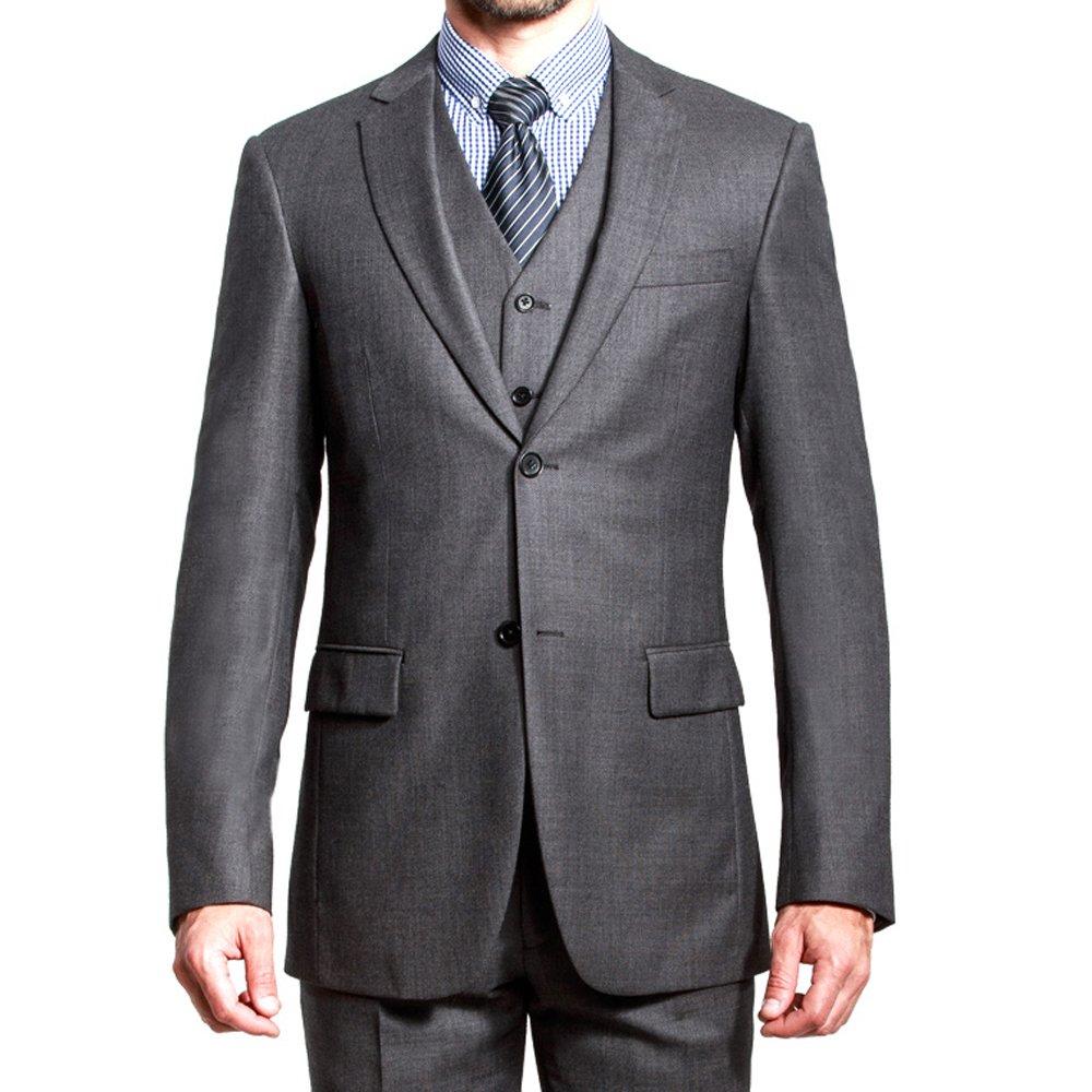 HBDesign Mens 3 piece 2 Button Notch Lapel Slim Trim Fit Modern Suite Dark Grey 50R
