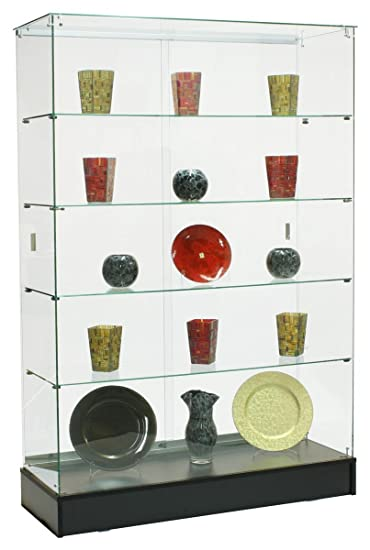 Amazoncom Glass Curio Cabinet with 4 FixedHeight Glass Shelves