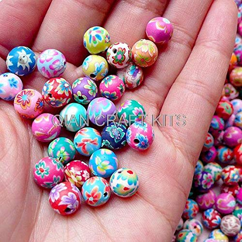 Dalab 1000pcs Round Polymer Clay Beads Mix by Random 6mm-8mm Mix Size Assorted Beads Set Jewelry Earrings Bracelet Keychain by DalaB