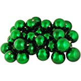 "Northlight 32 Count Shiny Xmas Shatterproof Christmas Ball Ornaments, 3.25"" (80mm), Green"