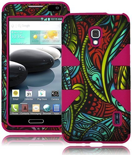 Bastex-Heavy-Duty-Hybrid-Case-for-LG-Optimus-F6-D500-Hot-Pink-Silicone-Cover-Surrounded-by-Antique-Colorful-Swirles-and-Vines-Hard-Case-Shell