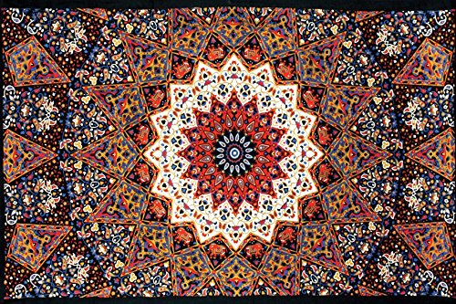 - Sunshine Joy Indian Dark Star Elephant Tapestry - Orange & Blue - 60x90 Inches - Beach Sheet - Hanging Wall Art - 3D Reactive Artwork