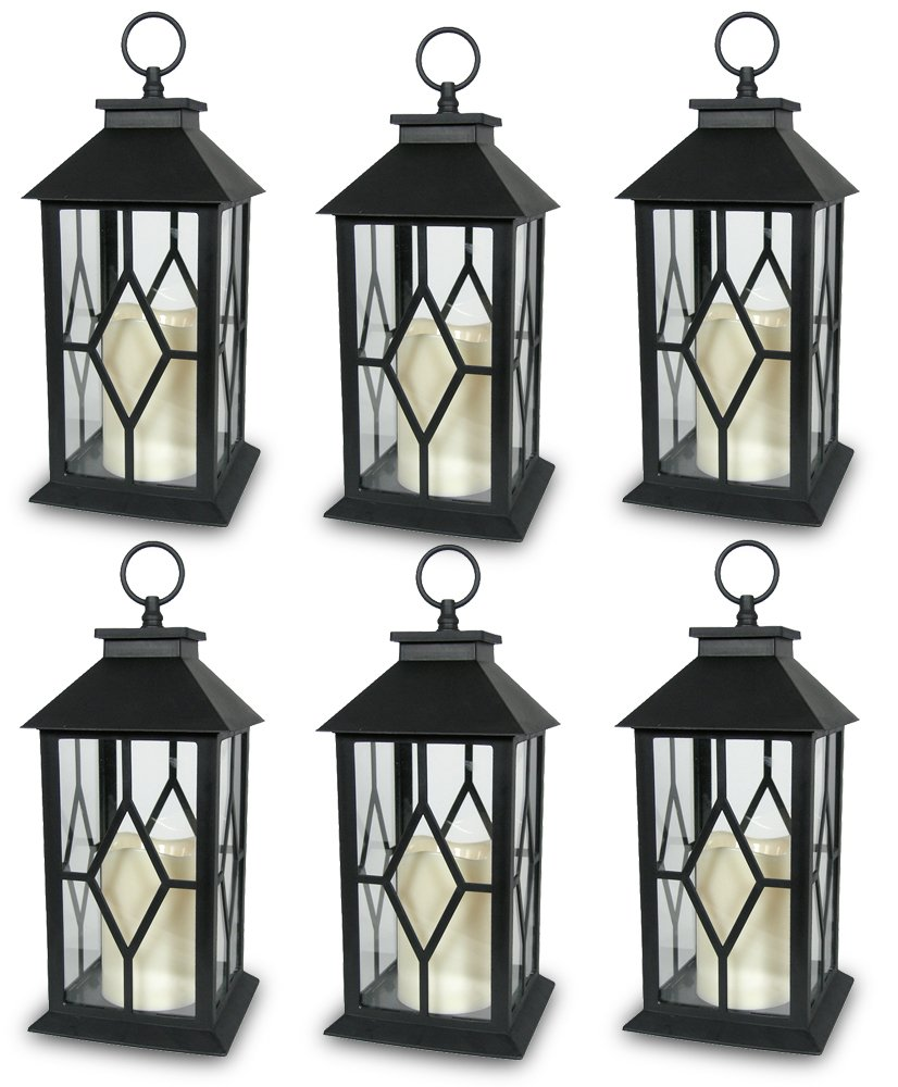 Decorative Black Lantern - LED Flickering Flameless Pillar Candle with 5 Hour Timer Included - Indoor/Outdoor Lantern - 13'' - Pack of 6 by BANBERRY DESIGNS