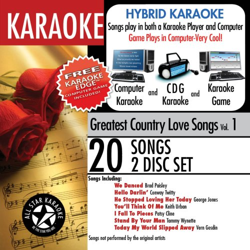 ASK-101 Karaoke: Greatest Country Love Songs with Karaoke Edge, featuring songs in the style of Brad Paisley, George Jones, and Keith Urban