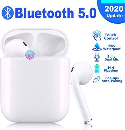 Bluetooth 5.0 Wireless Earbuds with 24Hrs Charging Case IPX5 Waterproof 3D Stereo in-Ear Built-in Mic Wireless Headphone Surround Sound with Deep Bass Wireless Earbuds for iPhone Android Samsung
