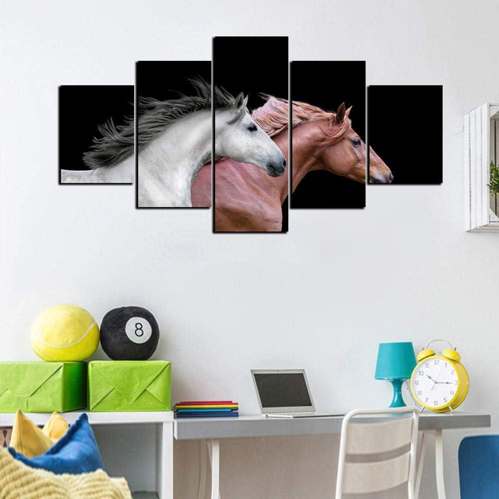 GBUIHZK Cuadros modulares Arte de la Pared 5 Piezas Caballo Animal Lienzo Pintura para Sala de Estar Decoración del hogar Obra de Arte Cartel A-100X50Cm-Sin Marco
