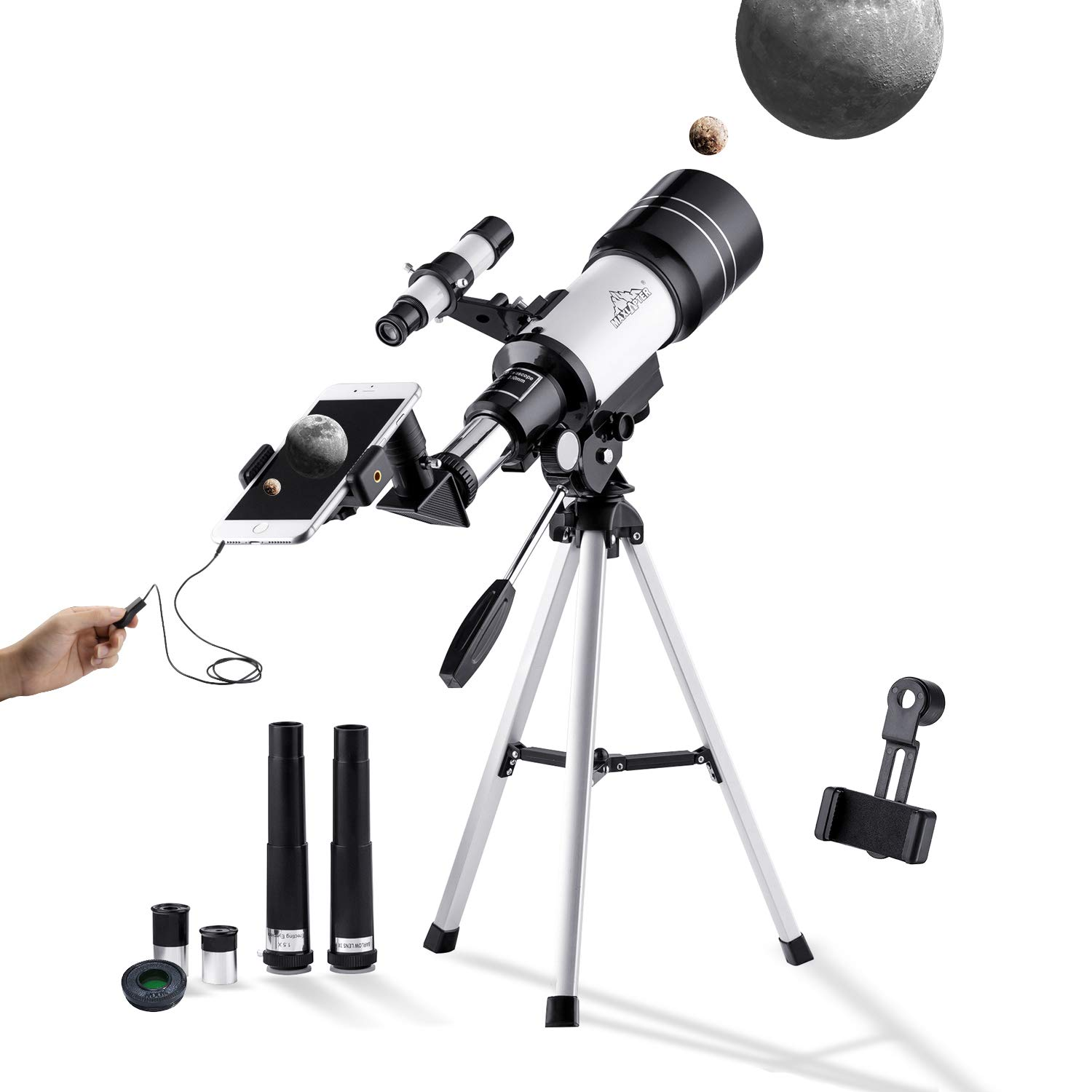 150X Astronomy Monocular Telescope 300/70mm for Kids with Finder Scope, Tripod and H6mm & H20mm Eyepiece, Come with Phone Adapter, Wire Shutter, Moon Filter and Backpack, Fit for Stargazing & Birding MAXLAPTER WR854