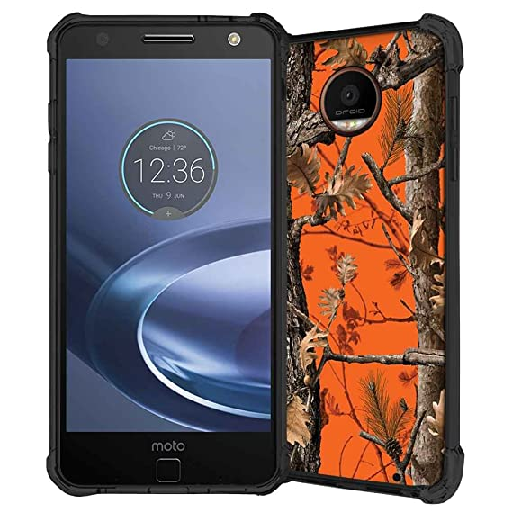cheap for discount 34e37 7d9aa Moto Z Force Case, ABLOOMBOX Hunting Camo Fabric Camouflage Pattern Shock  Absorption Soft Bumper Slim Rubber Protective Case Cover for Motorola Moto  Z ...