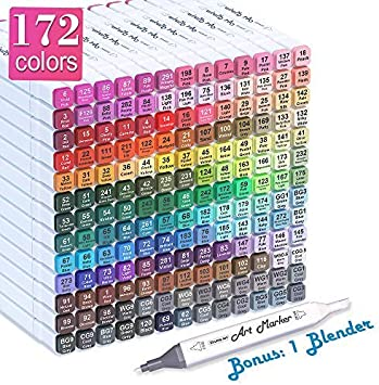 168 Colors Black 168 Colors Alcohol Markers,Double Tipped Markers Permanent Art Marker Set for Kids and Dult Coloring Sketch Markers for Drawing Sketching Adult Coloring Alcohol-Based Mark