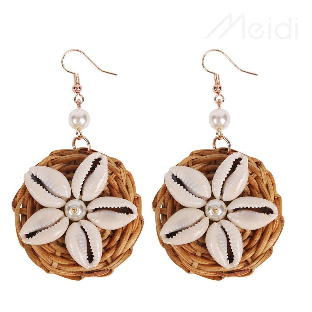 XBKPLO Fashion Bohemian Drop Tassel Dangle Hoop Earrings Shell Rattan Pearl Wild Fringe Earrings Hypoallergenic Women's Elegant Jewelry Gifts