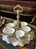 13 Pieces Vintage Style Ottoman Turkish Greek Arabic Coffee Espresso Serving Cup Gift Set, Silver