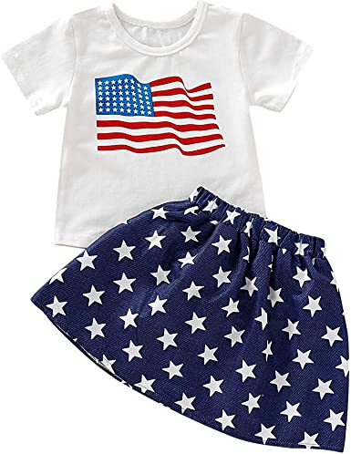Lovely Newborn Baby Girls Boys Stars Striped T Shirts 4th Of July Outfits Set