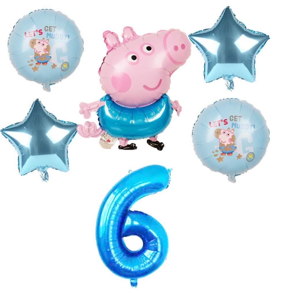 LIUUWO Balloon 6 Piezas Globos de Papel de Dibujos Animados Peppa ...