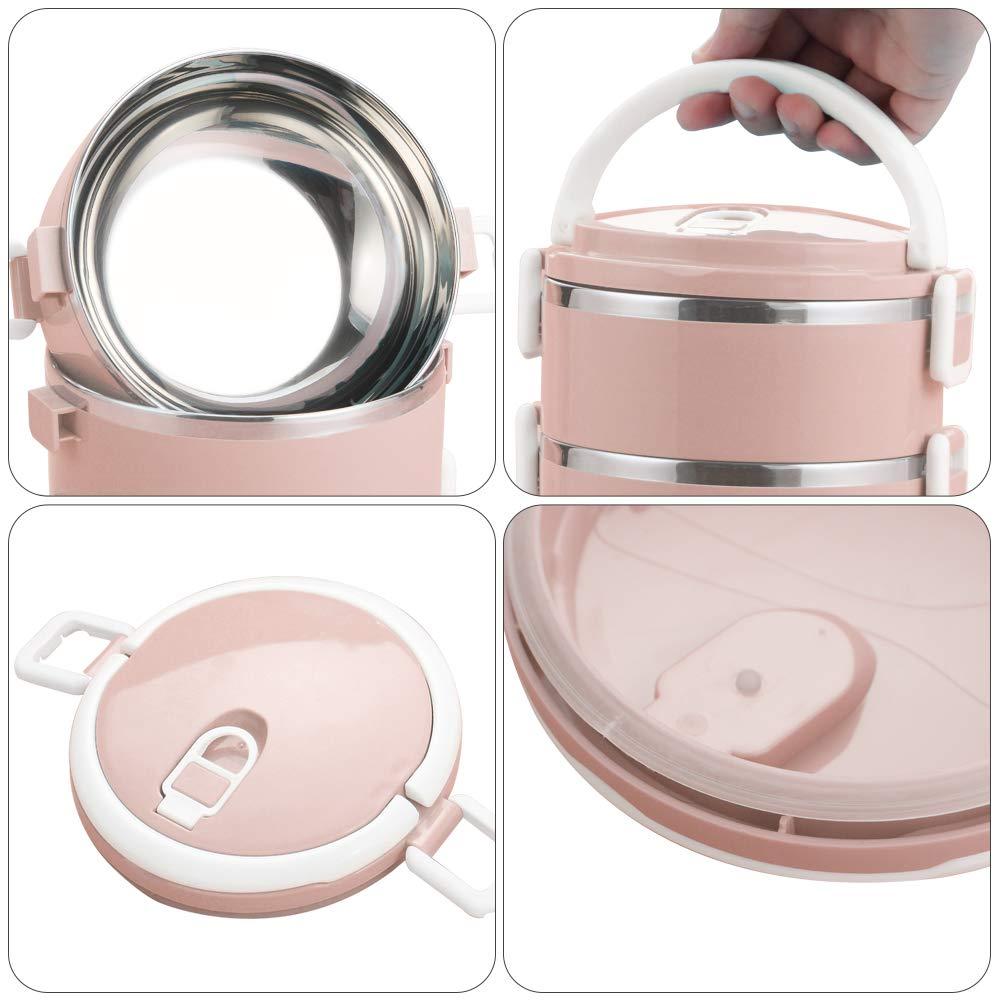 Worthbuy Fiambrera de acero inoxidable apilable con aislamiento de 2 niveles y bolsa para adultos y estudiantes rosa