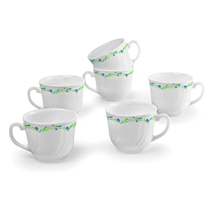 4327644e6c Buy Cello Imperial Opalware Bella Cup Set, 90ml, Set of 6, White/Amazon  Creeper Online at Low Prices in India - Amazon.in