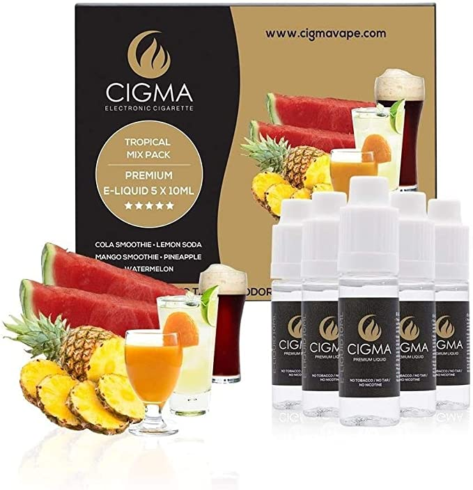 CIGMA 5 X 10ml E-Liquid Tropical Pack - Cola - Piña - Sandía - Smoothie de mango - Soda de limón - Ingredientes de alto grado - VG & PG Mix -