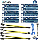 YEECHUN [Shipping from New York] 11.6inch PCle VER 006C PCl-E 16x to 1x Powered Riser Adapter Card + 18AWG PCI-E 6pin to Dual 8pin(6+2pin) Extension Cable USB 3.0 Extension Cable(Nylon Tie Included)