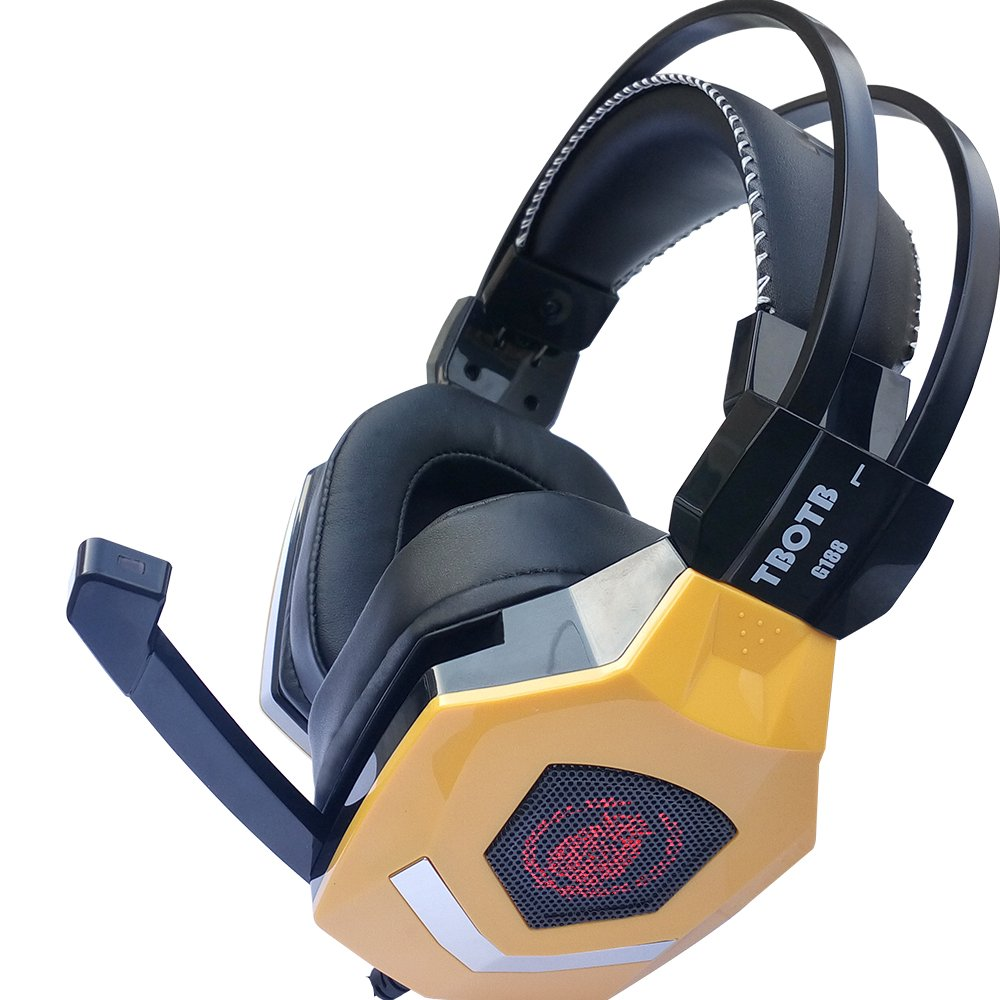 CCsky Gaming Headset 7.1 Multichannel Sound Effect Gaming over Ear Stereo USB Headphone with Microphone Noise Isolating for PC Laptop PlayStation 4, VR, Mac and Wired PS4 Xbox-Yellow
