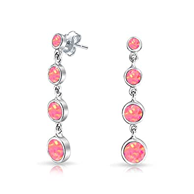 Bling Jewelry .925 Silver Synthetic Pink Opal Leverback Dangle Earrings Rhodium Plated qxZTM