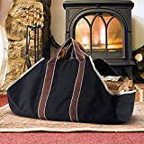 ART TO REAL Outdoor Canvas Log Carrier Bag, Fireplace Firewood Storage Bag Totes Holders, Large Capacity Log Holders, Black