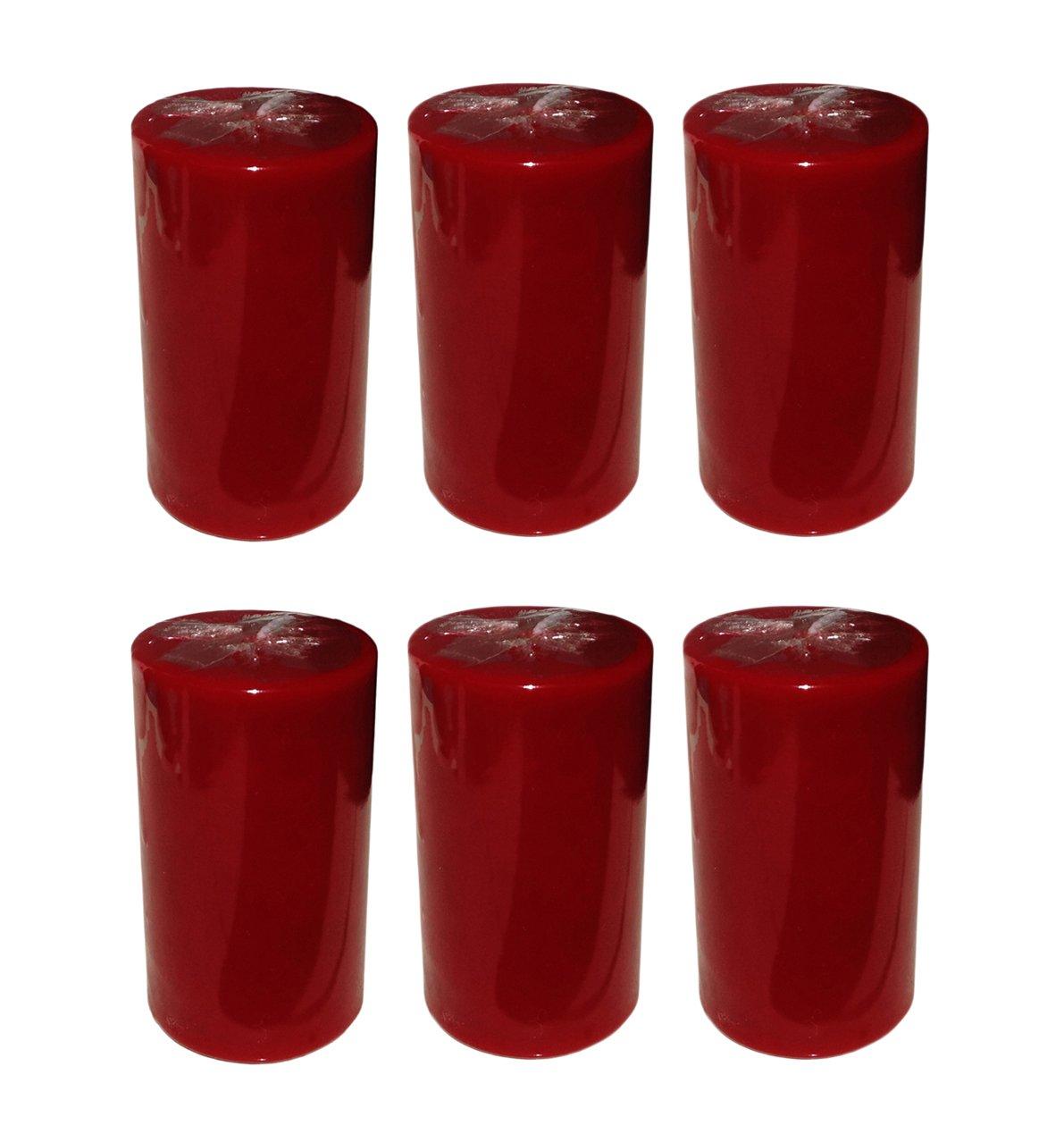 Collumino Vin Rouge Bougies pilier 40H de couleur unie Taille 10x 5.5cm, Red, Lot de 6