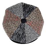 Mens Patchwork Wool Big Apple Duckbill Ivy Newsboy Irish Tweed Cap Hat (XL)