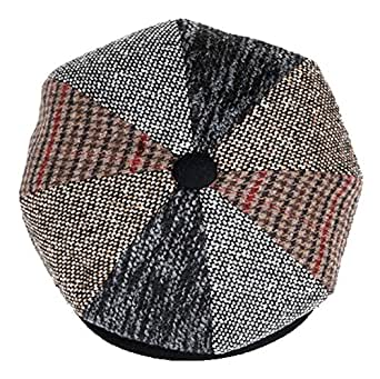 Mens Patchwork Wool Big Apple Duckbill Ivy Newsboy Irish Tweed Cap Hat (M)