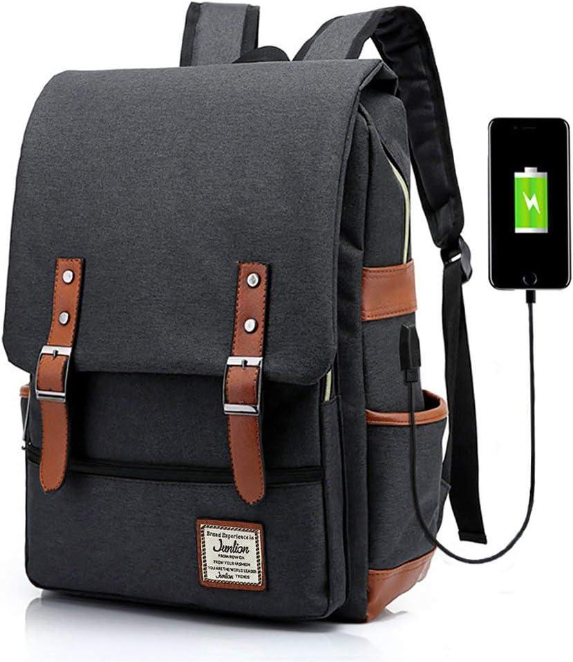 Junlion Unisex Business Laptop Backpack College Student School Bag Travel Rucksack Daypack with USB Charging Port Black