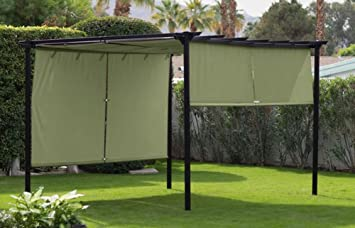 Steel Outdoor Pergola Gazebo With Green Retractable Canopy Shades