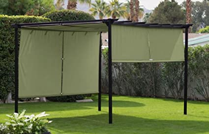 Ordinaire Steel Outdoor Pergola Gazebo With Green Retractable Canopy Shades