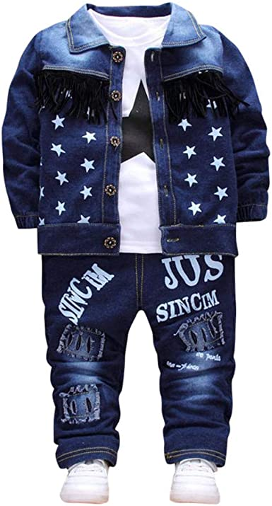 2-7T Toddler Denim Blouse Kids Girl Boy Winter Casual Letter Print Coat Top Long Sleeve Jacket Shirts Clothes