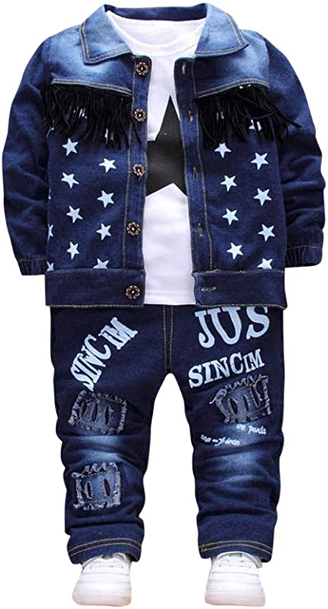 Jeans Jumpsuit Suit Set Size 1-3 Years Old Toddler Boy 2 Pcs Jacket