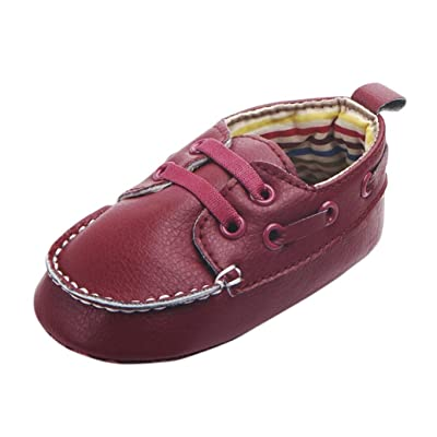 Morrivoe Infant Baby Boys Girls Leather Lace Up Soft Sole Crib Shoes Moccasins Toddler Outdoor Casual Shoes Prewalker Shoes