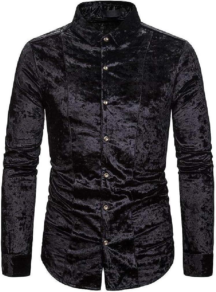 Smallwin Mens Velvet Button Down Long Sleeve Casual Lapel Collar Dress Shirt