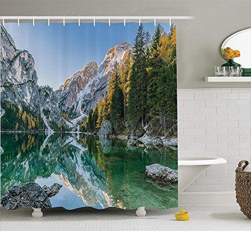 Palm Bamboo Curtain - Afagahahs Apartment Decor Shower Curtain Set Autumn Landscape with Faded Trees and Mountains Pure Reflection in Water Dream Photo Bathroom Green Grey 66 x 72 in