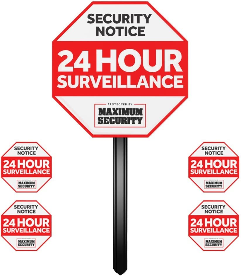 Security Sign w/Stake & 4 Window Decal Alarm Sign (UV Fade Proof/Coated)