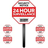 Alarm Sign for Home w/ Stake & 4 Security Window Decal (UV Fade Proof / Coated)