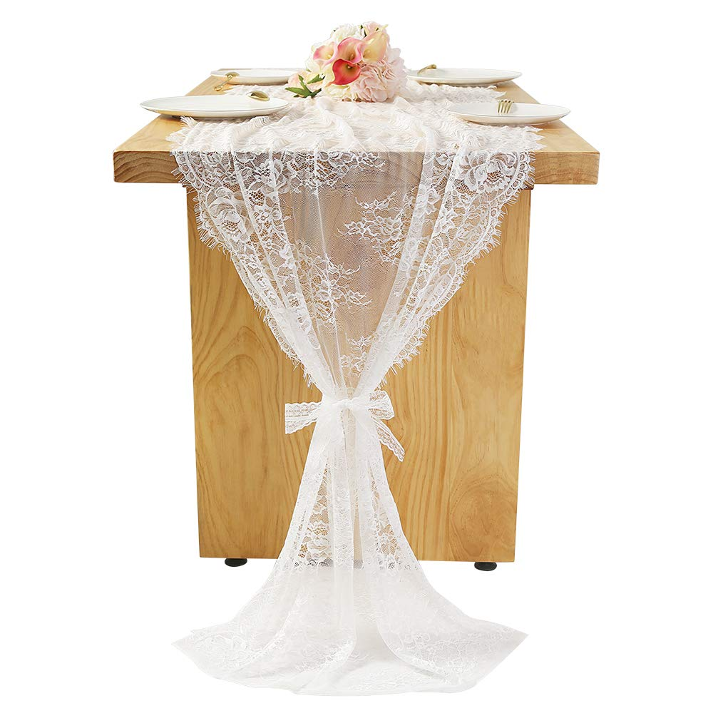"""Woowland White Lace Table Runner 30"""" x 120"""
